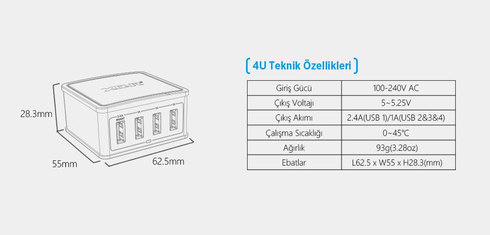 Xtar 27W 4 Port USB Teknik Özellikleri