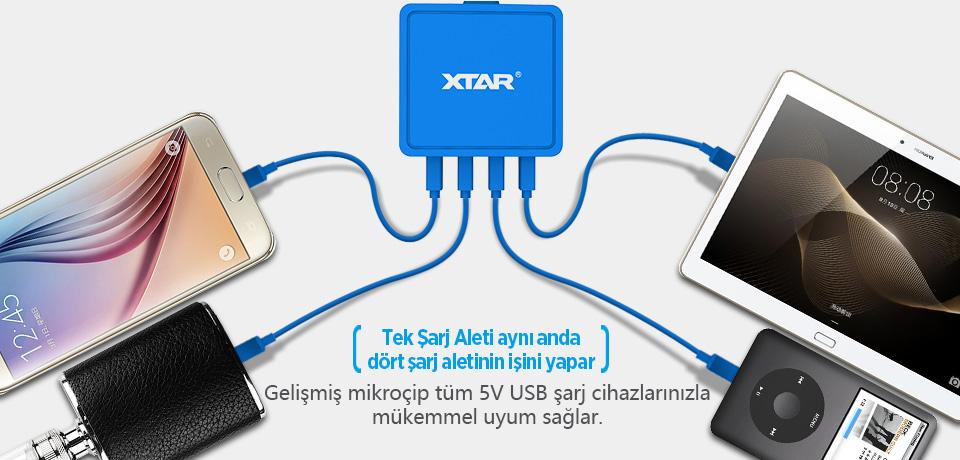 Xtar 27W 4 Port USB Şarj Cihazı