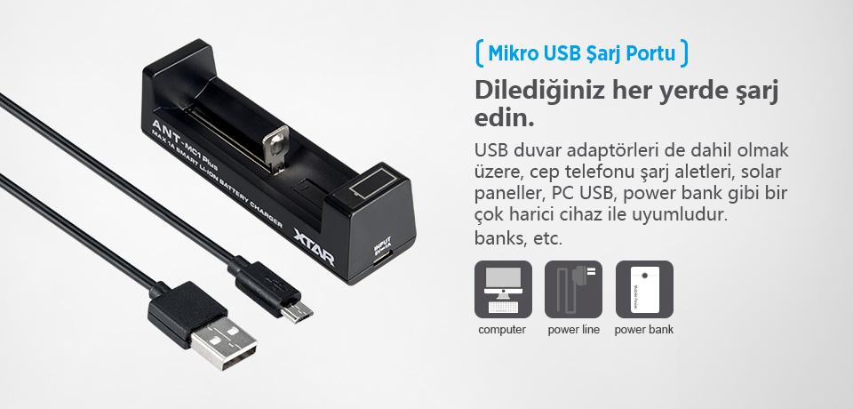 Xtar Ant MC1 Plus Mikro USB Şarj Portu