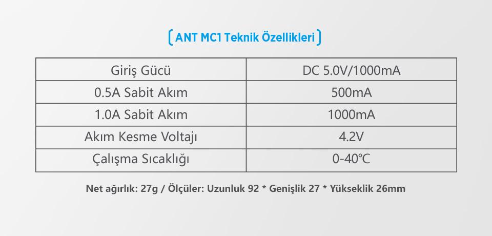 Xtar MC1 Plus Teknik Özellikleri