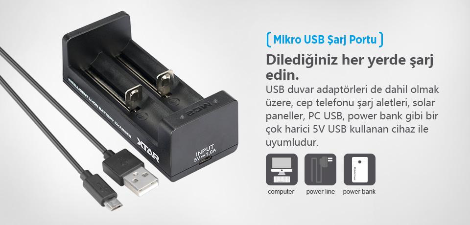 Xtar MC2 Mikro USB Şarj Port ile Her Yerden Şarj