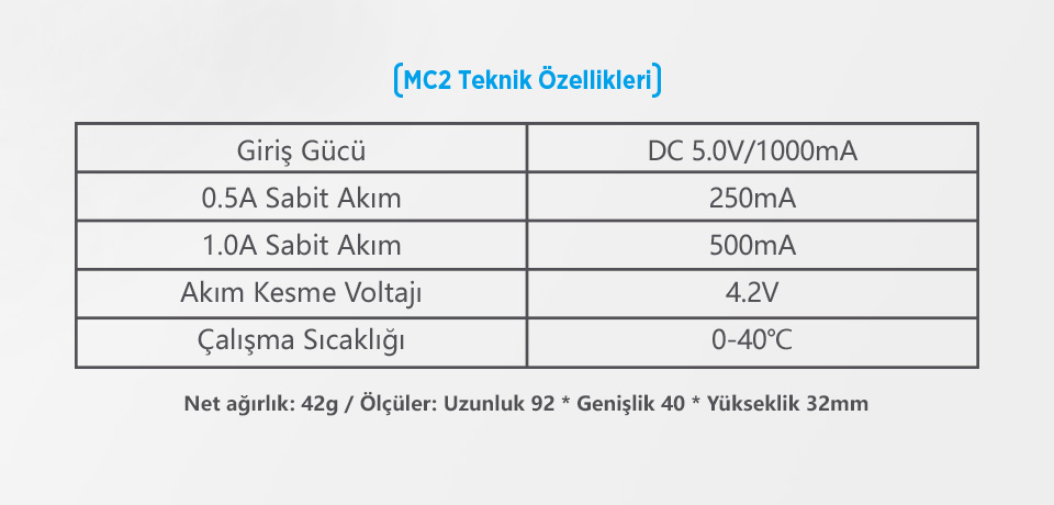 Xtar MC2 Teknik Özellikleri