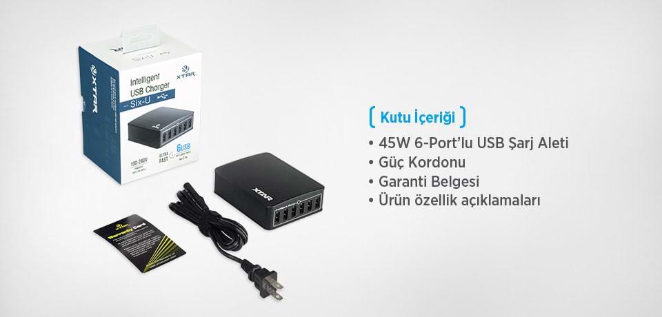 Xtar SIX-U 45W 6-Port USB HUB Çoğaltıcı Kutu İçeriği