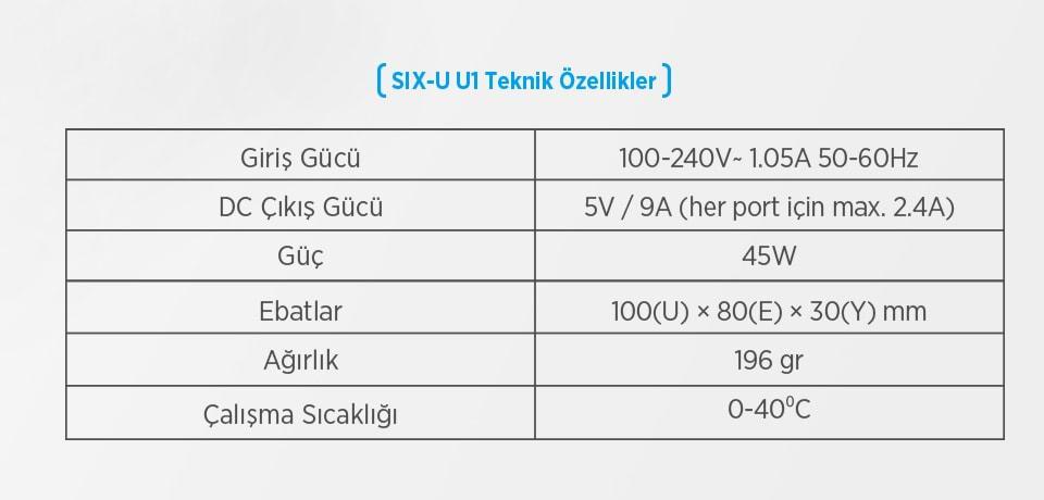 Xtar U1 SIX-U 45W Şarj Cihazı Teknik Özellikleri