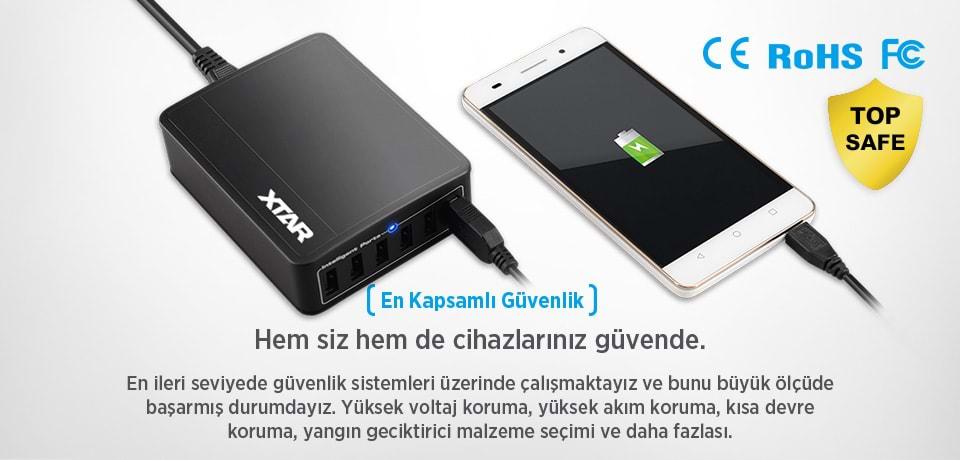 Xtar SIX-U 45W 6-Port Güvenli USB HUB Çoğaltıcı