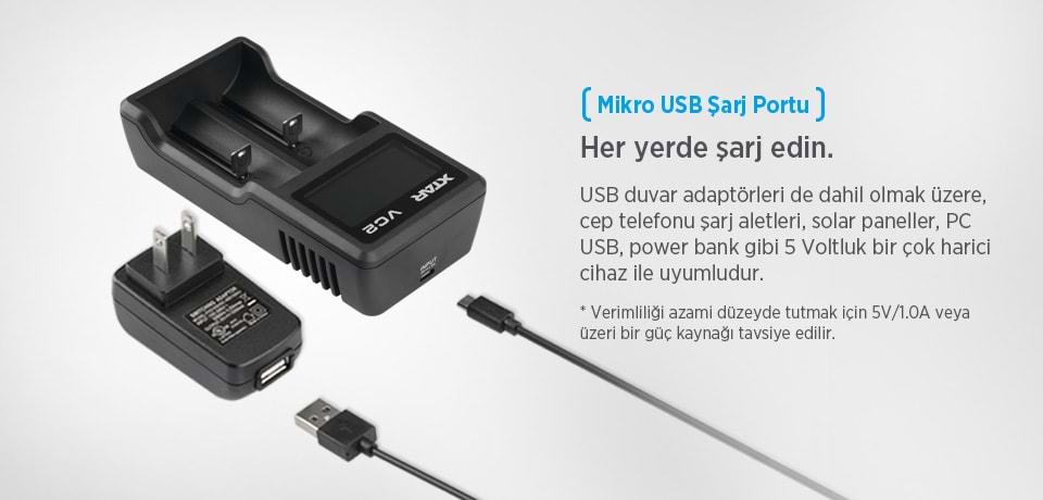 Xtar VC2 Mikro USB Şarj Portu ile Her Yerden Şarj Edin