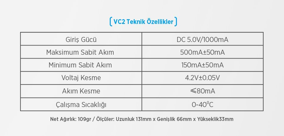 Xtar VC2 Universal Teknik Özellikleri