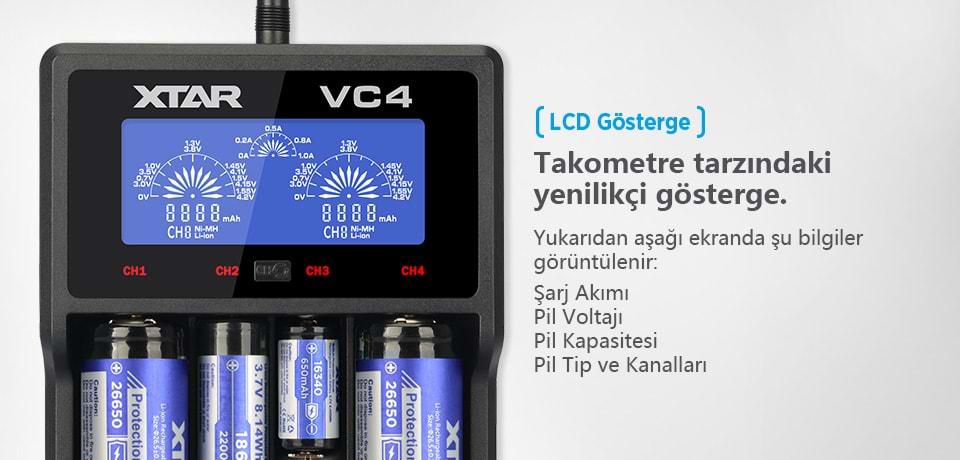 Xtar VC4 Şarj Cihazı LCD Gösterge