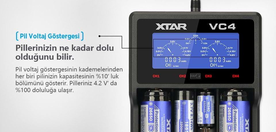 Xtar VC4 Pil Voltaj Göstergesi ile Kapasiteyi Kontrol Edin
