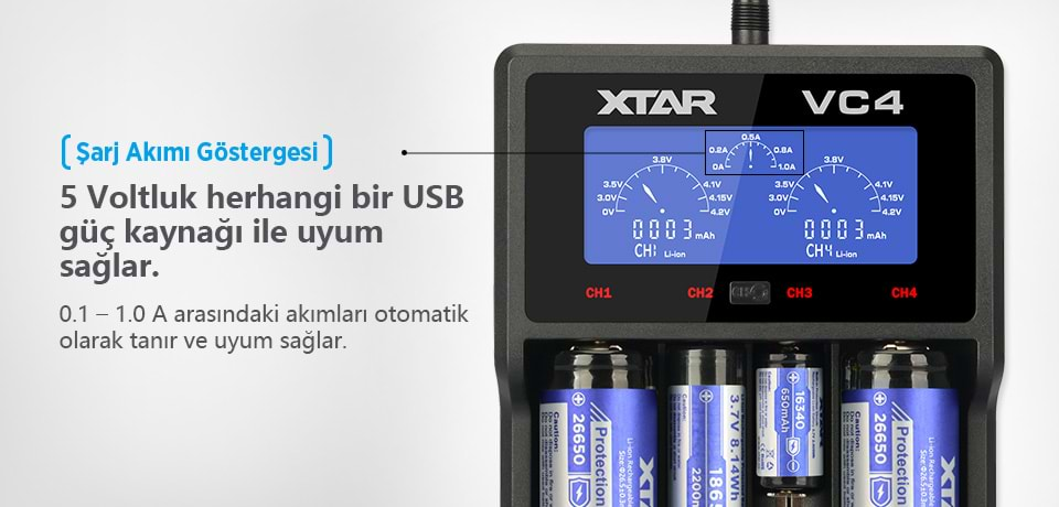 Xtar VC4 Akımları Otomatik Uyum Sağlar