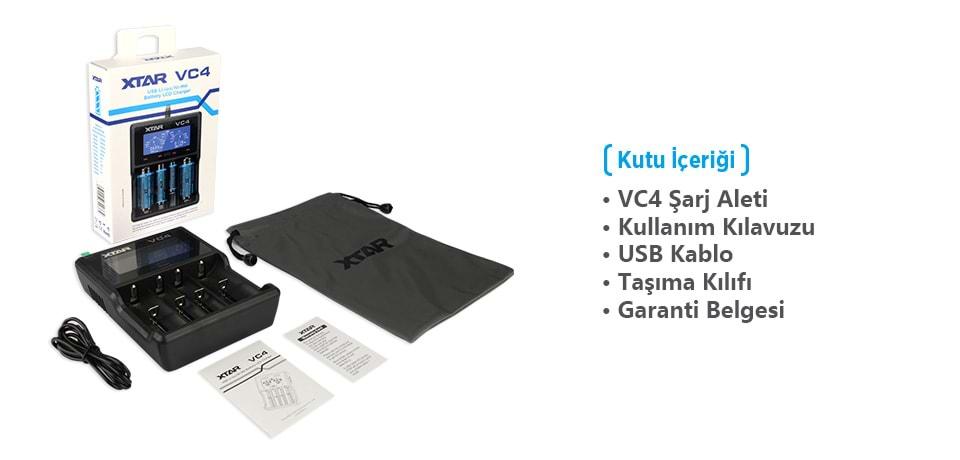 Xtar VC4 Universal Li-ion/Ni-Mh/Ni-Cd Pil Şarj Cihazı Kutu İçeriği