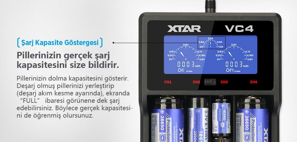 Xtar VC4 Pillerinizin Şarj Kapasitesini Gösterir
