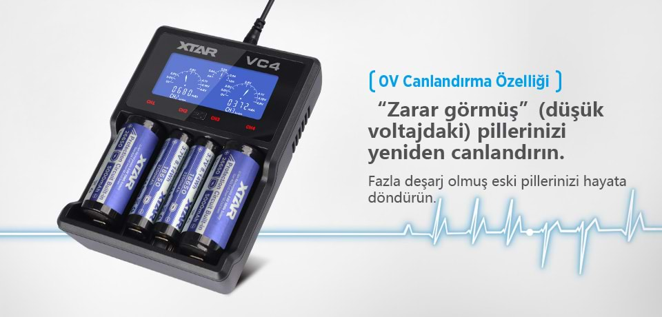 Xtar VC4 Li-ion Ni-Mh Ni-Cd Hızlı Şarj Cihazı