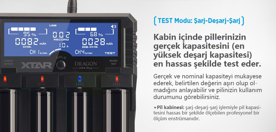 Xtar Dragon VP4 Plus Test Modu: Şarj-Deşarj-Şarj