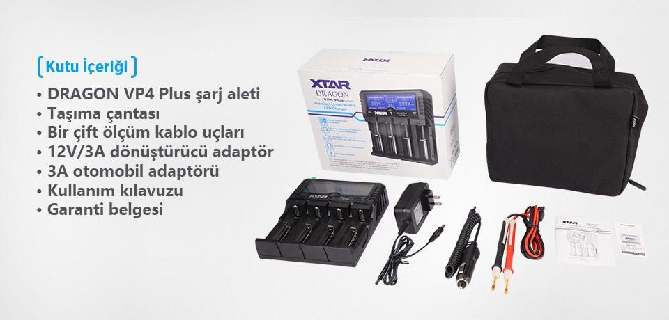 Xtar Dragon VP4 Plus Universal Li-ion/Ni-Mh/Ni-Cd Pil Şarj Cihazı Kutu İçeriği