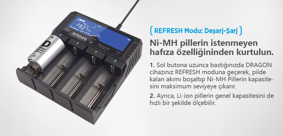 Xtar Dragon VP4 Plus Refresh Özellikli Şarj Aleti