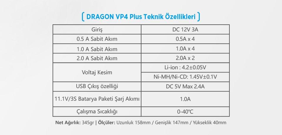 Xtar Dragon VP4 Plus Universal Şarj Cihazı Teknik Özellikleri