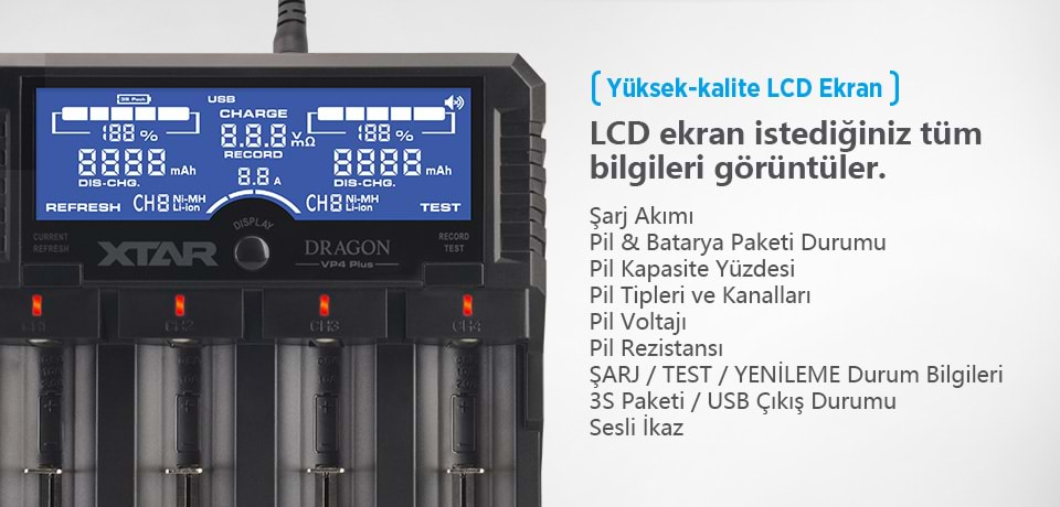 Xtar Dragon VP4 Plus Kaliteli LCD Ekran