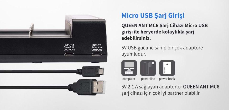 Xtar Queen Ant MC6 Micro USB Şarj Girişi Vardır