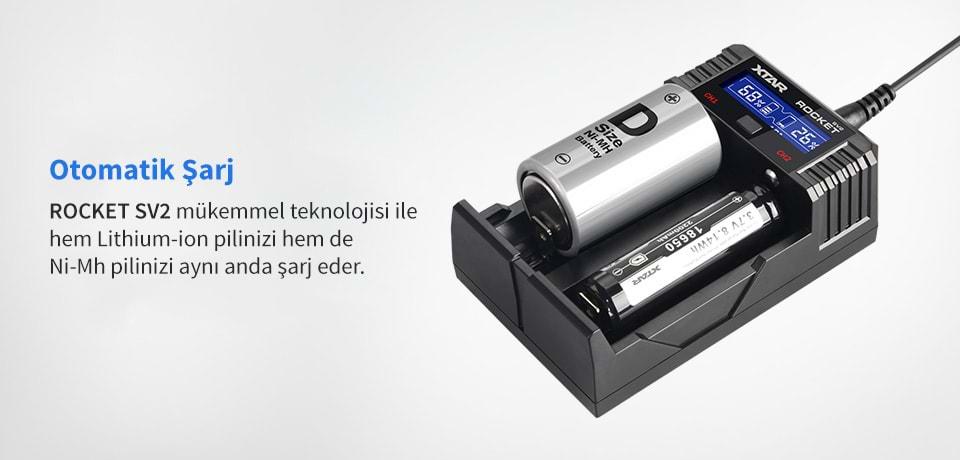 Xtar Rocket SV2 Farklı Kimyadaki Pilleri Aynı Anda Şarj Eder