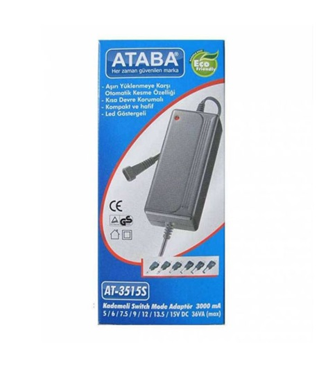 Ataba AT-3515S 5-15V 3000Mah Switch Mode Adaptör 6 Jacklı