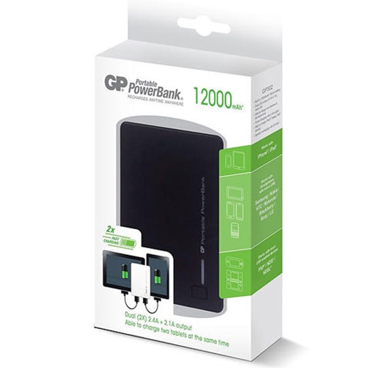 GP GP302BE-2B1 Powerbank 12000mAh Batarya Siyah